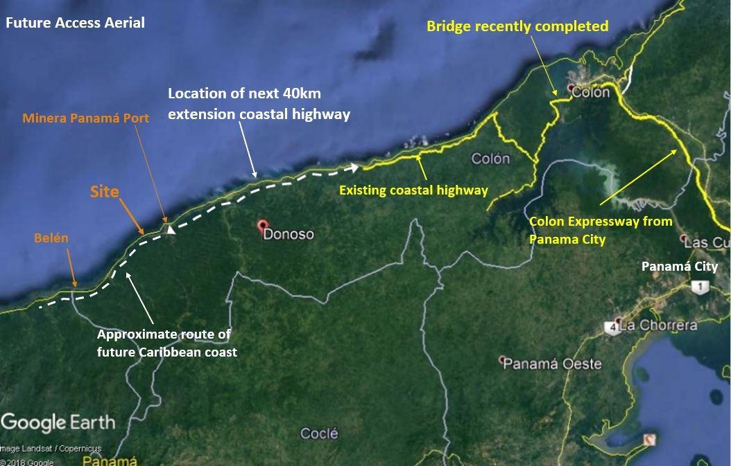 Donoso Panama beach lots future access aerial view